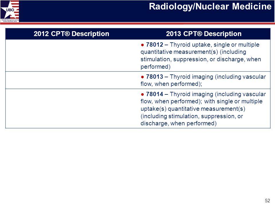 Radiology/Nuclear Medicine 52 2012 CPT® Description2013 CPT® Description ● 78012 – Thyroid uptake, single or multiple quantitative measurement(s) (inc
