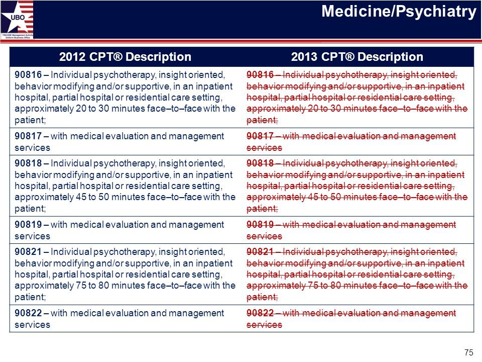 Medicine/Psychiatry 2012 CPT® Description2013 CPT® Description 90816 – Individual psychotherapy, insight oriented, behavior modifying and/or supportiv