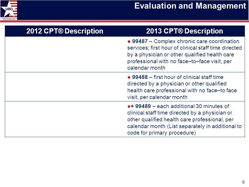 Evaluation and Management 2012 CPT® Description2013 CPT® Description ● 99487 – Complex chronic care coordination services; first hour of clinical staf