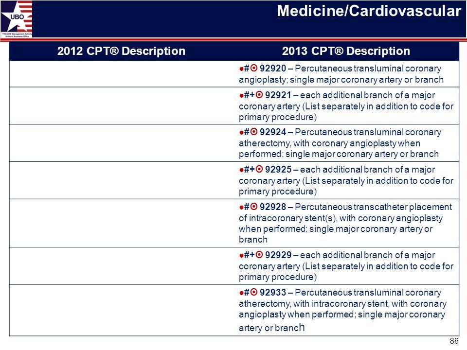 Medicine/Cardiovascular 2012 CPT® Description2013 CPT® Description ●#  92920 – Percutaneous transluminal coronary angioplasty; single major coronary