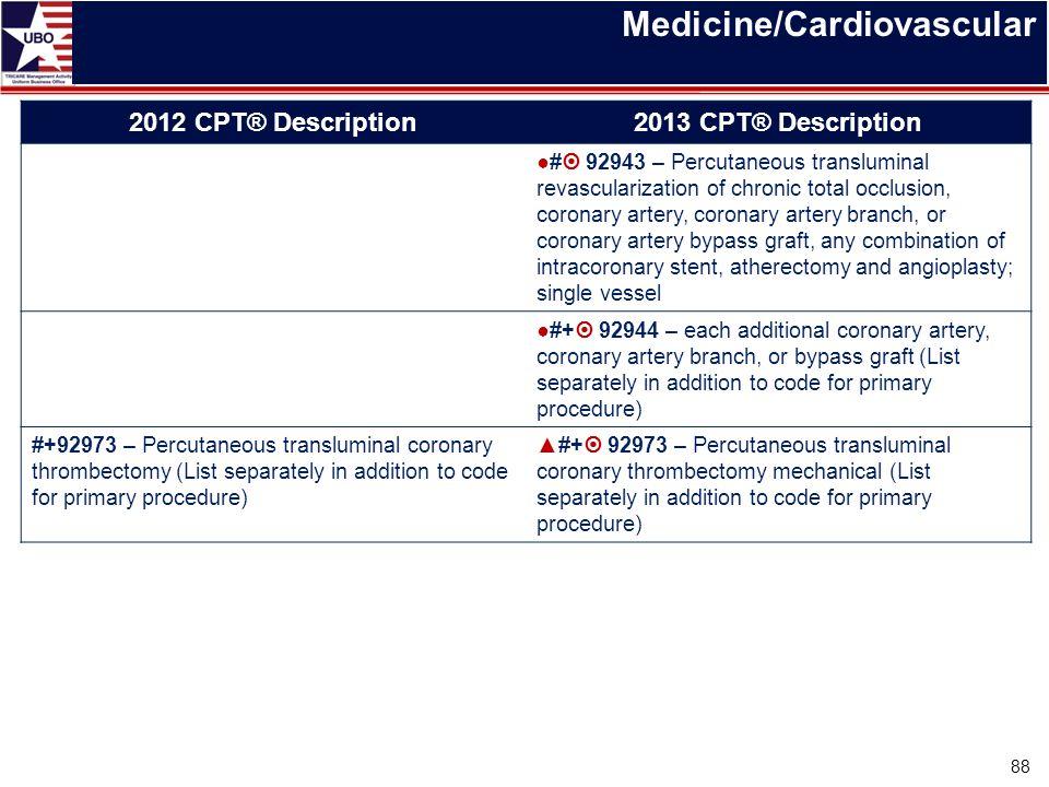 Medicine/Cardiovascular 2012 CPT® Description2013 CPT® Description ●#  92943 – Percutaneous transluminal revascularization of chronic total occlusion
