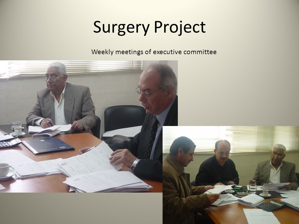 Surgery Project Weekly meetings of executive committee