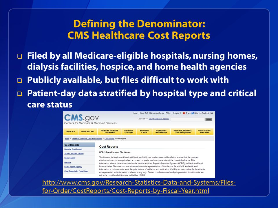 Defining the Denominator: CMS Healthcare Cost Reports  Filed by all Medicare-eligible hospitals, nursing homes, dialysis facilities, hospice, and home health agencies  Publicly available, but files difficult to work with  Patient-day data stratified by hospital type and critical care status http://www.cms.gov/Research-Statistics-Data-and-Systems/Files- for-Order/CostReports/Cost-Reports-by-Fiscal-Year.html