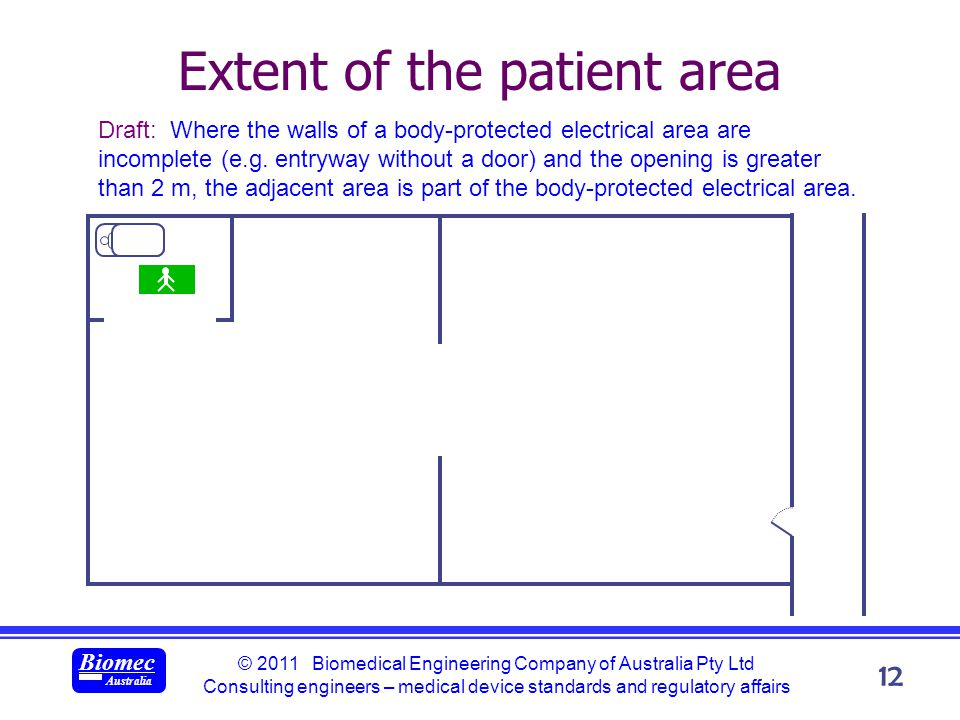 © 2011 Biomedical Engineering Company of Australia Pty Ltd Consulting engineers – medical device standards and regulatory affairs Biomec Australia 12 Extent of the patient area Draft: Where the walls of a body-protected electrical area are incomplete (e.g.