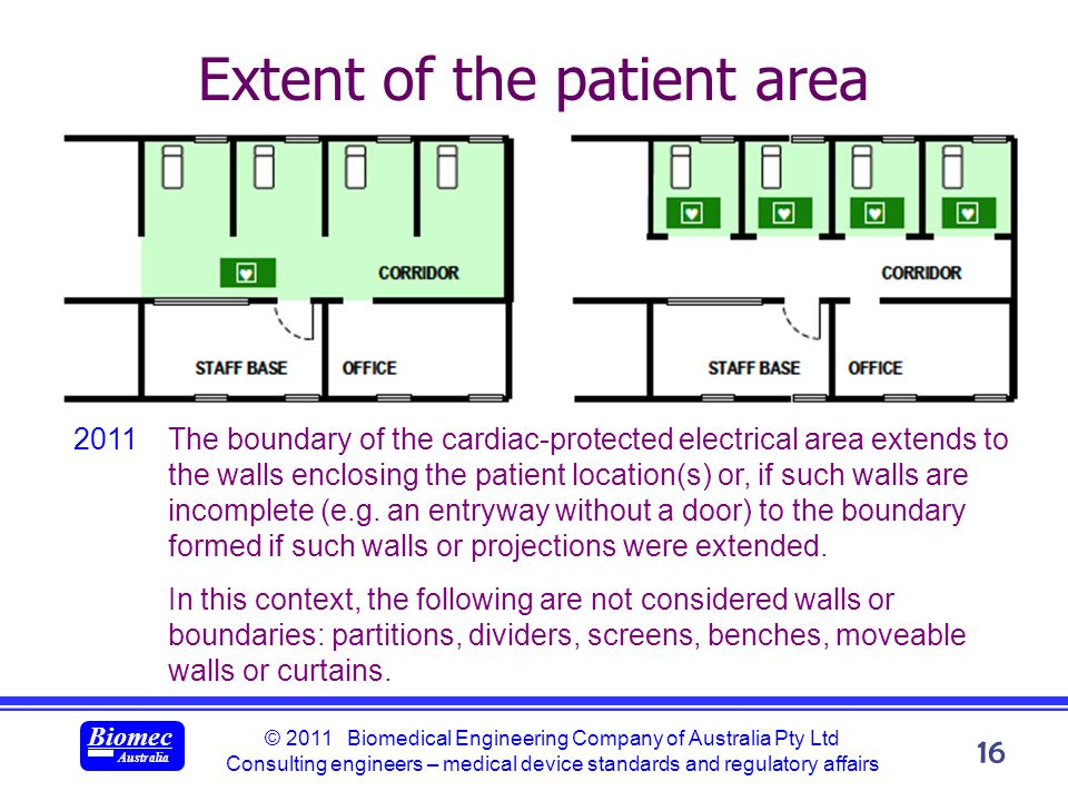 © 2011 Biomedical Engineering Company of Australia Pty Ltd Consulting engineers – medical device standards and regulatory affairs Biomec Australia 16 Extent of the patient area 2011The boundary of the cardiac-protected electrical area extends to the walls enclosing the patient location(s) or, if such walls are incomplete (e.g.