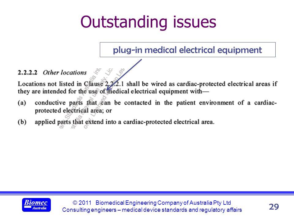 © 2011 Biomedical Engineering Company of Australia Pty Ltd Consulting engineers – medical device standards and regulatory affairs Biomec Australia 29