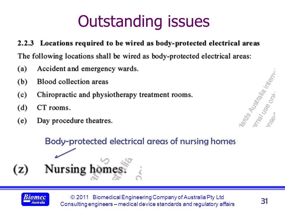 © 2011 Biomedical Engineering Company of Australia Pty Ltd Consulting engineers – medical device standards and regulatory affairs Biomec Australia 31 Outstanding issues Body-protected electrical areas of nursing homes