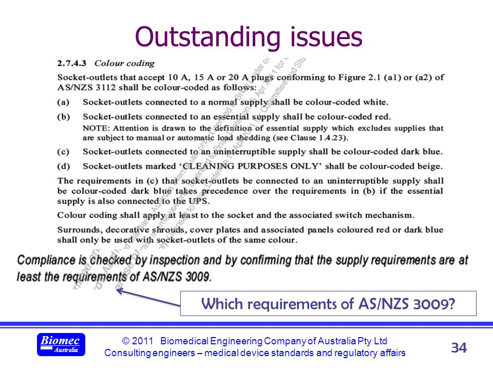 © 2011 Biomedical Engineering Company of Australia Pty Ltd Consulting engineers – medical device standards and regulatory affairs Biomec Australia 34 Outstanding issues Which requirements of AS/NZS 3009