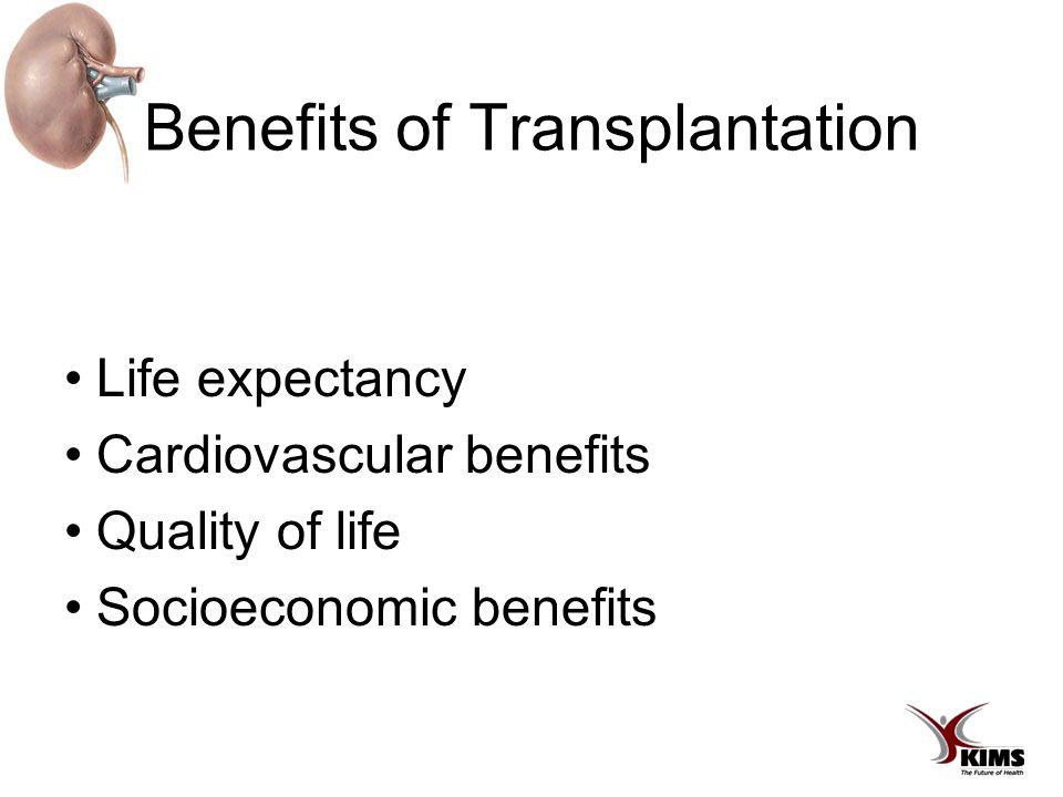 Benefits of Transplantation Life expectancy Cardiovascular benefits Quality of life Socioeconomic benefits