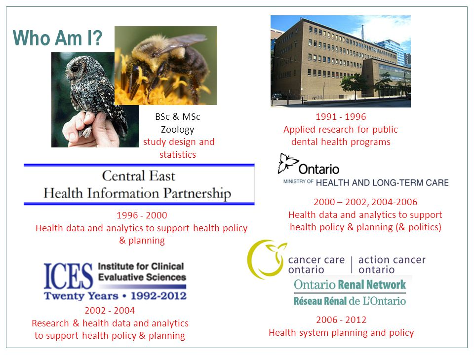 Who Am I? BSc & MSc Zoology study design and statistics 1996 - 2000 Health data and analytics to support health policy & planning 1991 - 1996 Applied