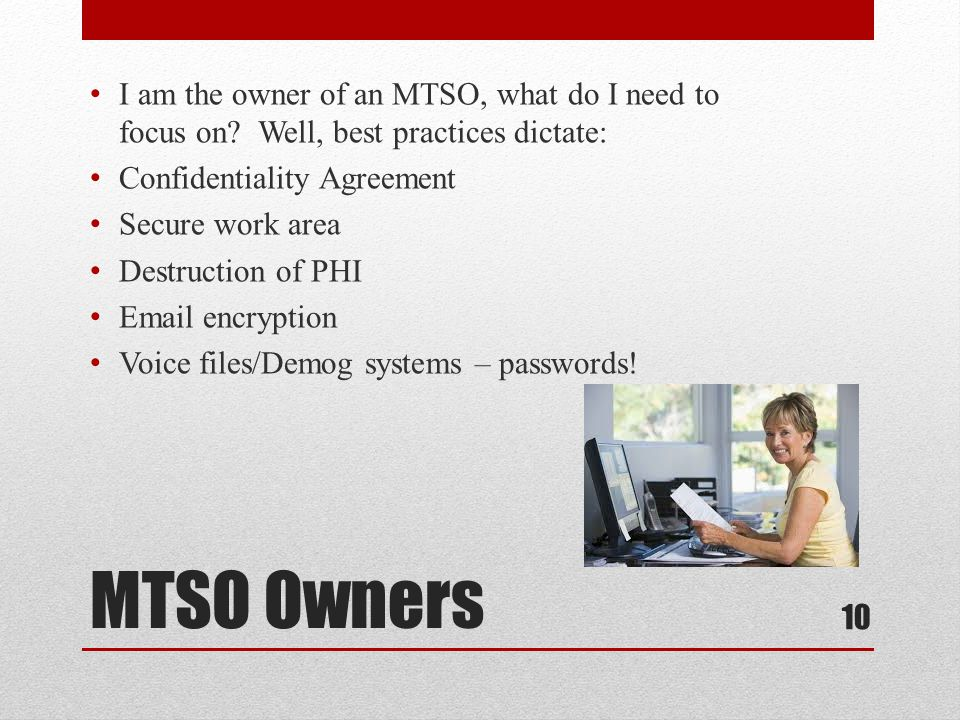 MTSO Owners I am the owner of an MTSO, what do I need to focus on.
