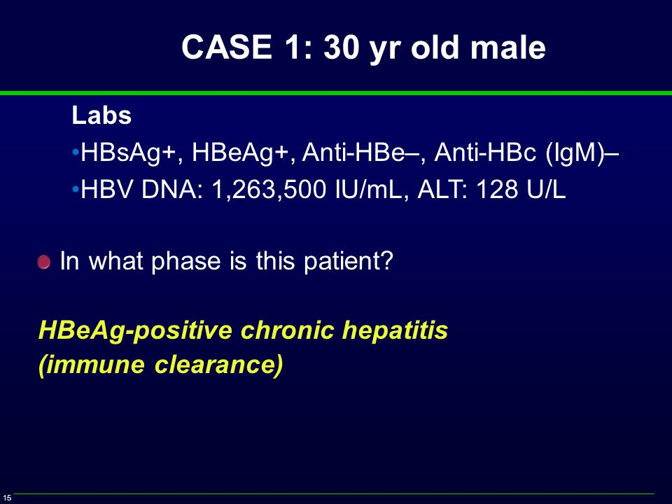 15 Labs HBsAg+, HBeAg+, Anti-HBe–, Anti-HBc (IgM)– HBV DNA: 1,263,500 IU/mL, ALT: 128 U/L In what phase is this patient.
