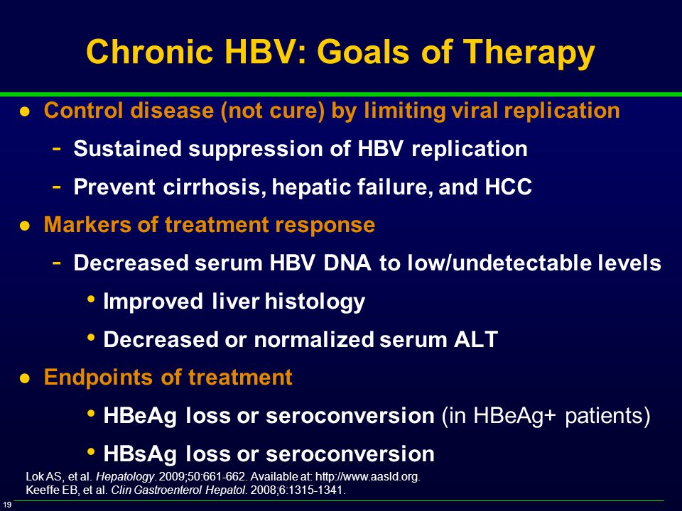 19 Chronic HBV: Goals of Therapy ●Control disease (not cure) by limiting viral replication - Sustained suppression of HBV replication - Prevent cirrhosis, hepatic failure, and HCC ●Markers of treatment response - Decreased serum HBV DNA to low/undetectable levels Improved liver histology Decreased or normalized serum ALT ●Endpoints of treatment HBeAg loss or seroconversion (in HBeAg+ patients) HBsAg loss or seroconversion Lok AS, et al.