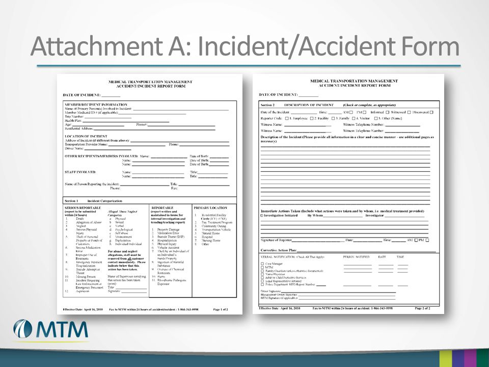 Attachment A: Incident/Accident Form