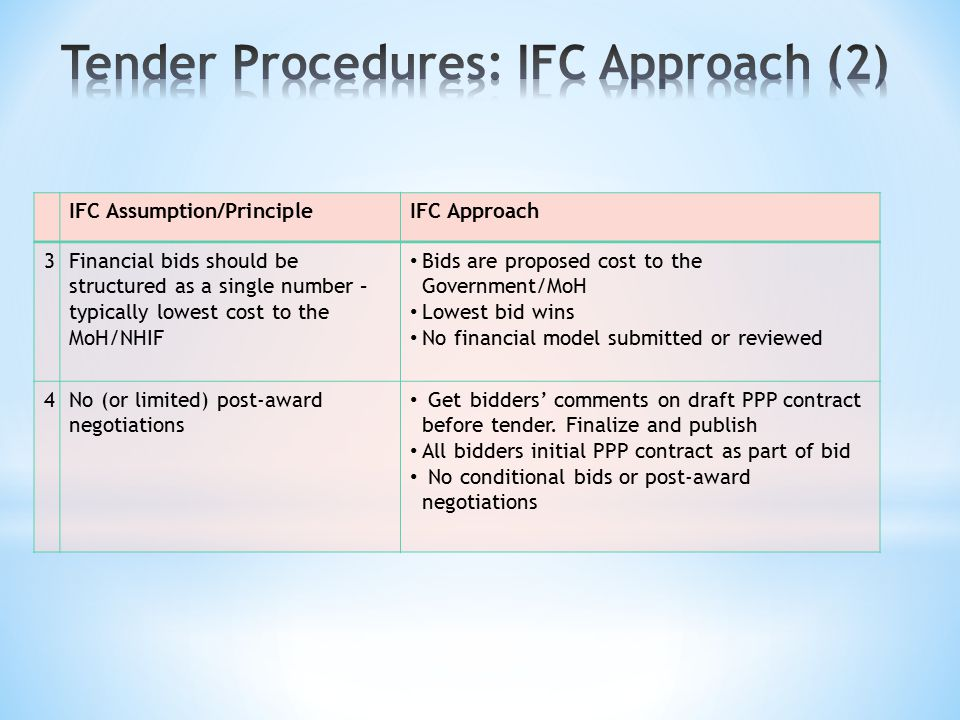 IFC Assumption/PrincipleIFC Approach 3Financial bids should be structured as a single number – typically lowest cost to the MoH/NHIF Bids are proposed cost to the Government/MoH Lowest bid wins No financial model submitted or reviewed 4No (or limited) post-award negotiations Get bidders' comments on draft PPP contract before tender.