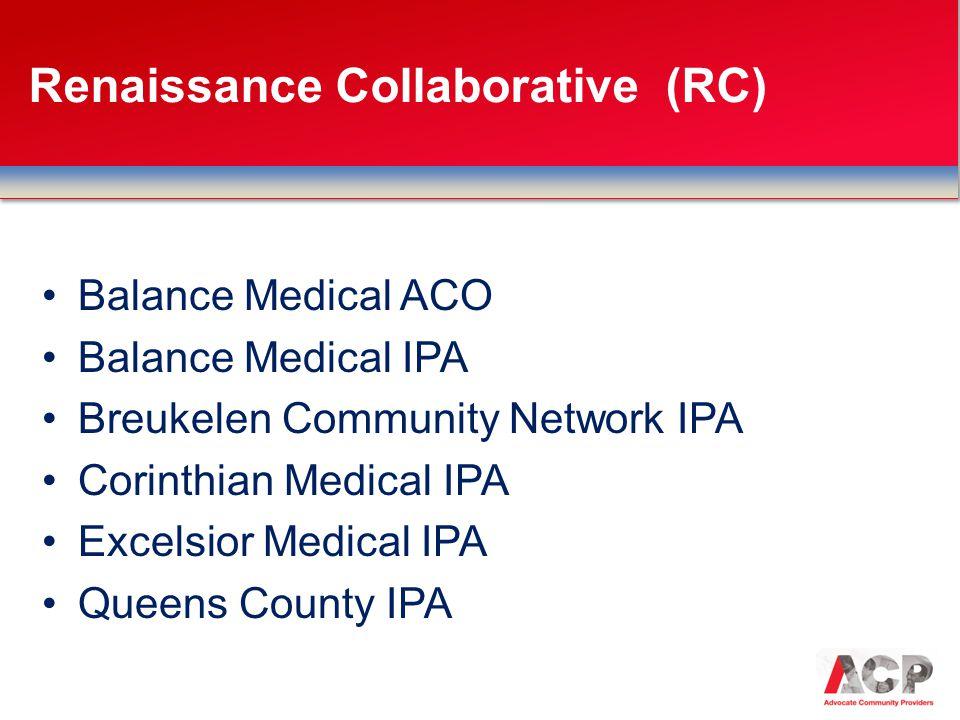 Balance Medical ACO Balance Medical IPA Breukelen Community Network IPA Corinthian Medical IPA Excelsior Medical IPA Queens County IPA Renaissance Collaborative (RC)