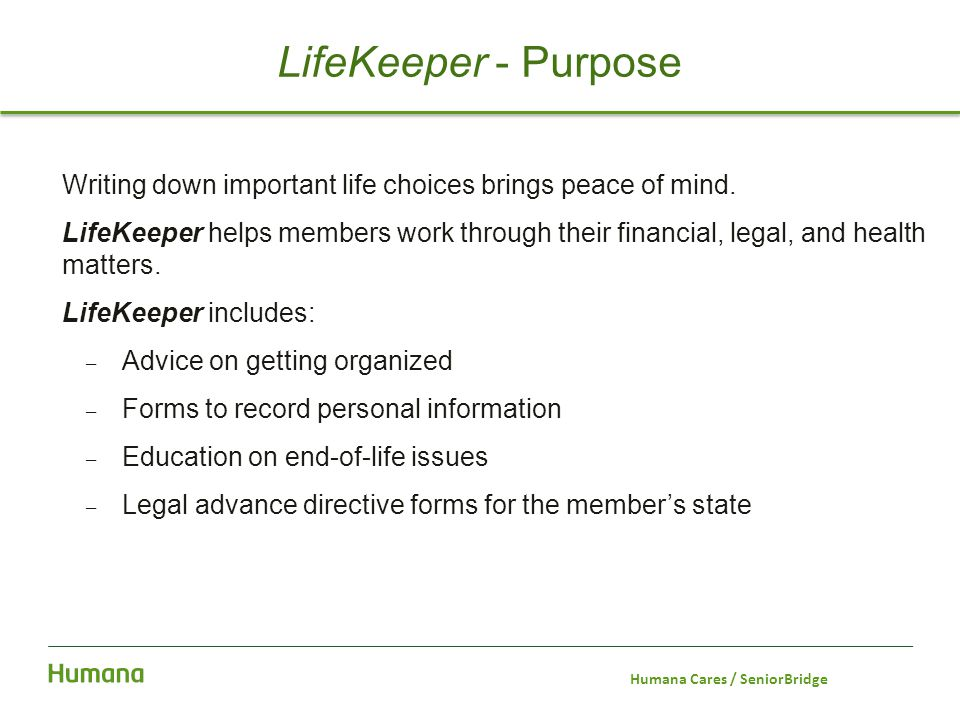 Writing down important life choices brings peace of mind. LifeKeeper helps members work through their financial, legal, and health matters. LifeKeeper