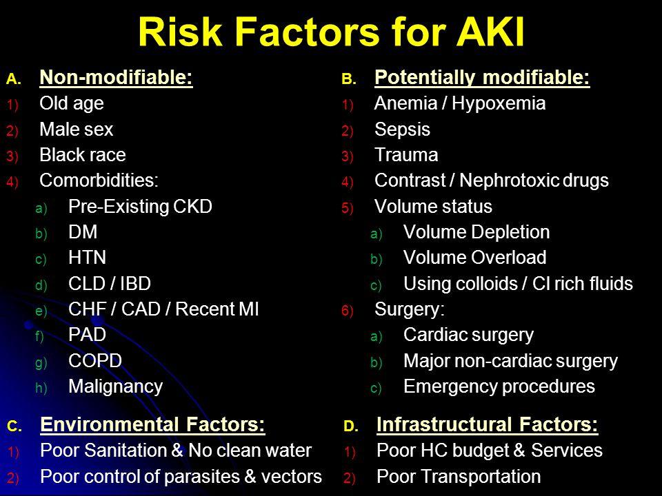 Risk Factors for AKI A. Non-modifiable: 1) Old age 2) Male sex 3) Black race 4) Comorbidities: a) Pre-Existing CKD b) DM c) HTN d) CLD / IBD e) CHF /