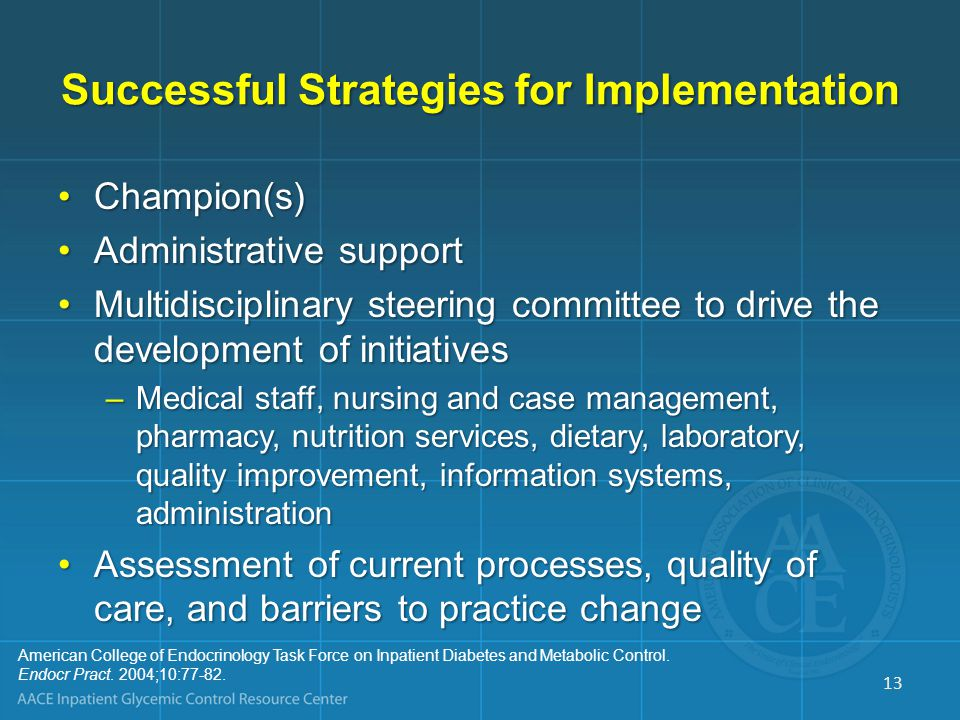 Successful Strategies for Implementation Champion(s)Champion(s) Administrative supportAdministrative support Multidisciplinary steering committee to d