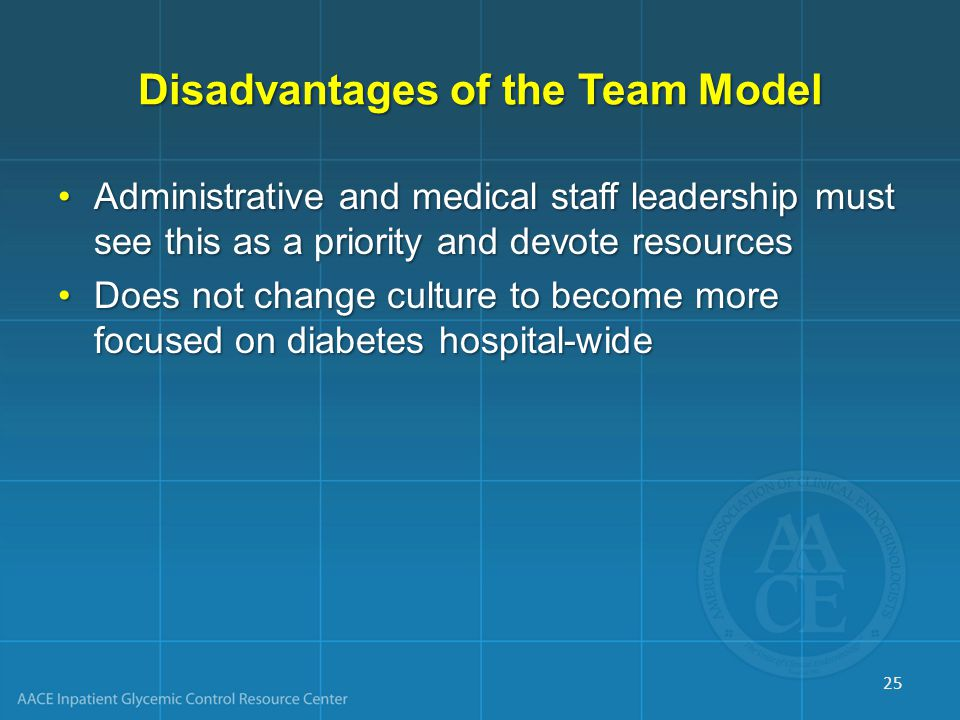Disadvantages of the Team Model Administrative and medical staff leadership must see this as a priority and devote resourcesAdministrative and medical staff leadership must see this as a priority and devote resources Does not change culture to become more focused on diabetes hospital-wideDoes not change culture to become more focused on diabetes hospital-wide 25