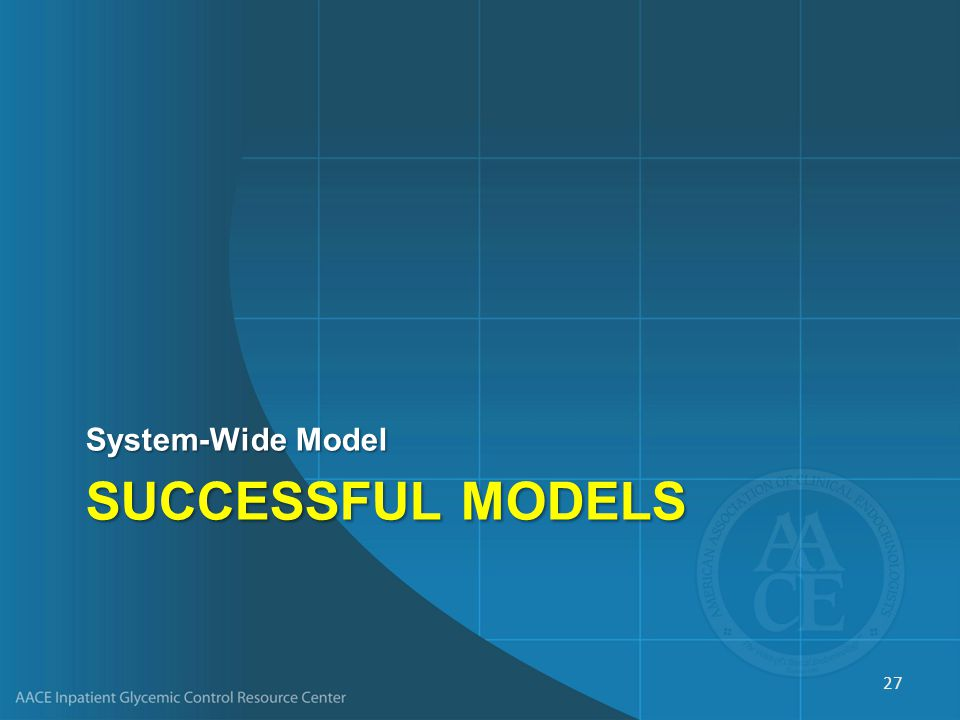SUCCESSFUL MODELS System-Wide Model 27
