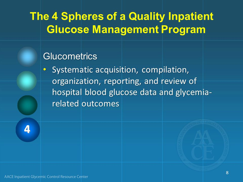 The 4 Spheres of a Quality Inpatient Glucose Management Program Glucometrics Systematic acquisition, compilation, organization, reporting, and review of hospital blood glucose data and glycemia- related outcomes Systematic acquisition, compilation, organization, reporting, and review of hospital blood glucose data and glycemia- related outcomes 4 8
