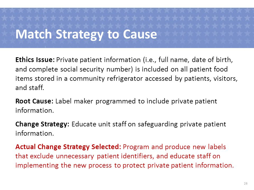 Match Strategy to Cause Ethics Issue: Private patient information (i.e., full name, date of birth, and complete social security number) is included on all patient food items stored in a community refrigerator accessed by patients, visitors, and staff.