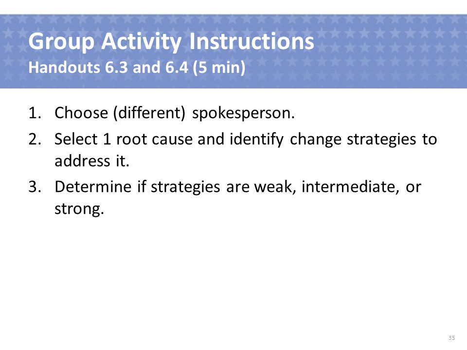 Group Activity Instructions Handouts 6.3 and 6.4 (5 min) 1.Choose (different) spokesperson.