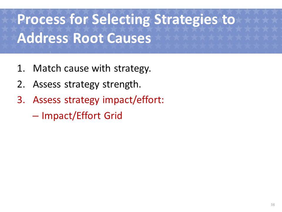 Process for Selecting Strategies to Address Root Causes 1.Match cause with strategy.