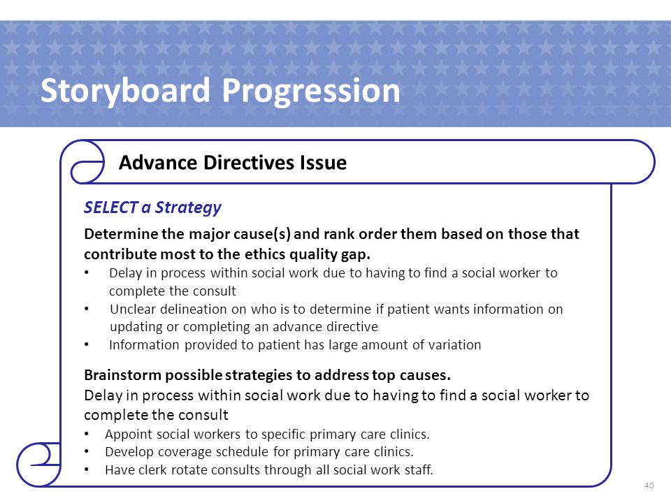 Storyboard Progression SELECT a Strategy Determine the major cause(s) and rank order them based on those that contribute most to the ethics quality gap.