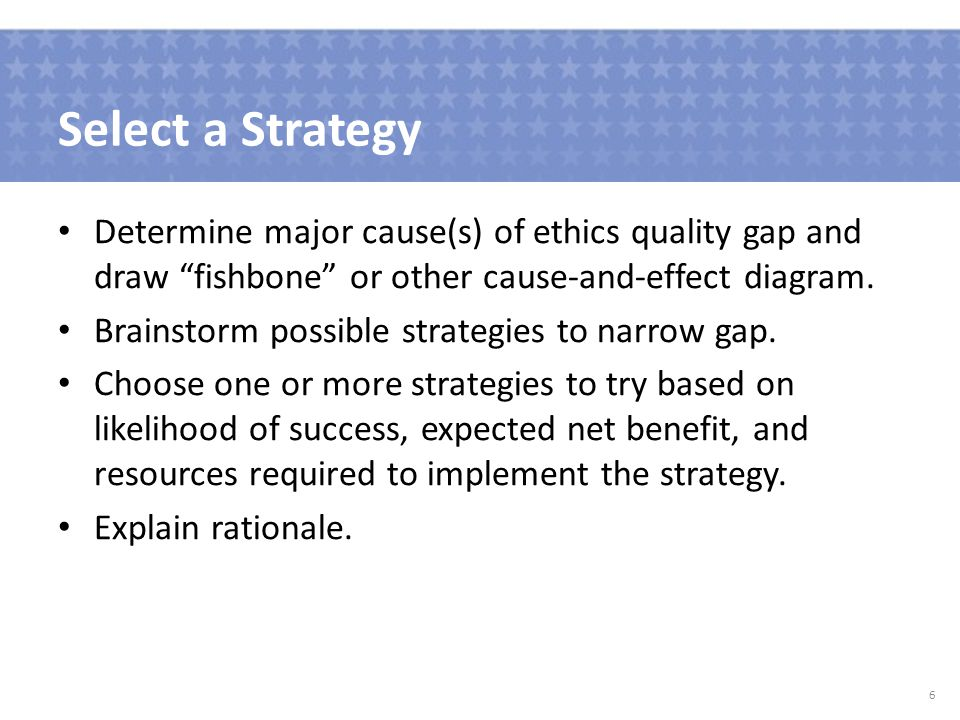 Select a Strategy Determine major cause(s) of ethics quality gap and draw fishbone or other cause-and-effect diagram.