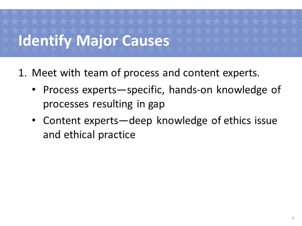 Identify Major Causes 1.Meet with team of process and content experts.