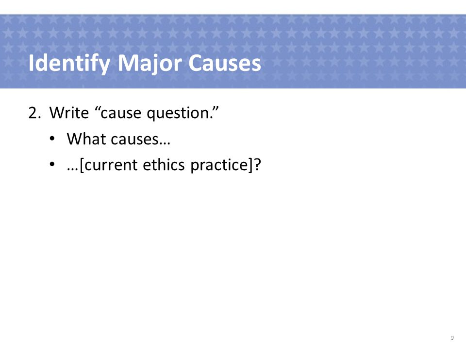 Identify Major Causes 2.Write cause question. Current Ethics Practice 10% of primary care patients who had a documented request for assistance with completing an advance directive received it.