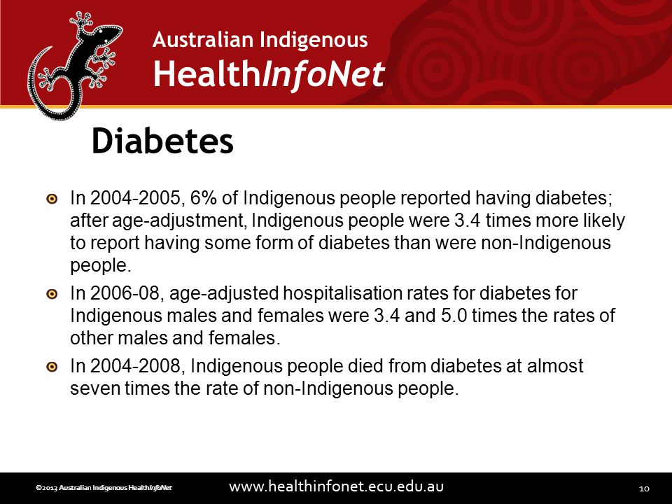 10 www.healthinfonet.ecu.edu.au Australian Indigenous HealthInfoNet ©2013 Australian Indigenous HealthInfoNet©2012 Australian Indigenous HealthInfoNet Diabetes In 2004-2005, 6% of Indigenous people reported having diabetes; after age-adjustment, Indigenous people were 3.4 times more likely to report having some form of diabetes than were non-Indigenous people.