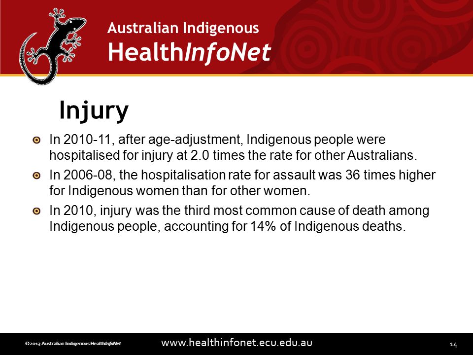 14 www.healthinfonet.ecu.edu.au Australian Indigenous HealthInfoNet ©2013 Australian Indigenous HealthInfoNet©2012 Australian Indigenous HealthInfoNet Injury In 2010-11, after age-adjustment, Indigenous people were hospitalised for injury at 2.0 times the rate for other Australians.