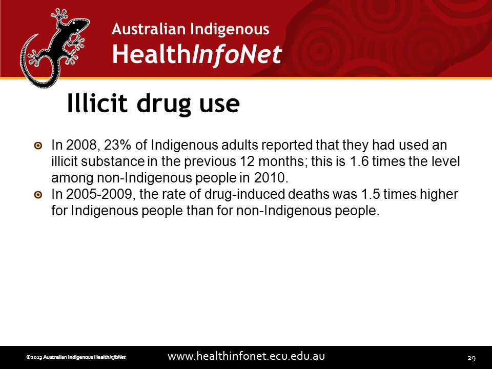 29 www.healthinfonet.ecu.edu.au Australian Indigenous HealthInfoNet ©2013 Australian Indigenous HealthInfoNet©2012 Australian Indigenous HealthInfoNet Illicit drug use In 2008, 23% of Indigenous adults reported that they had used an illicit substance in the previous 12 months; this is 1.6 times the level among non-Indigenous people in 2010.