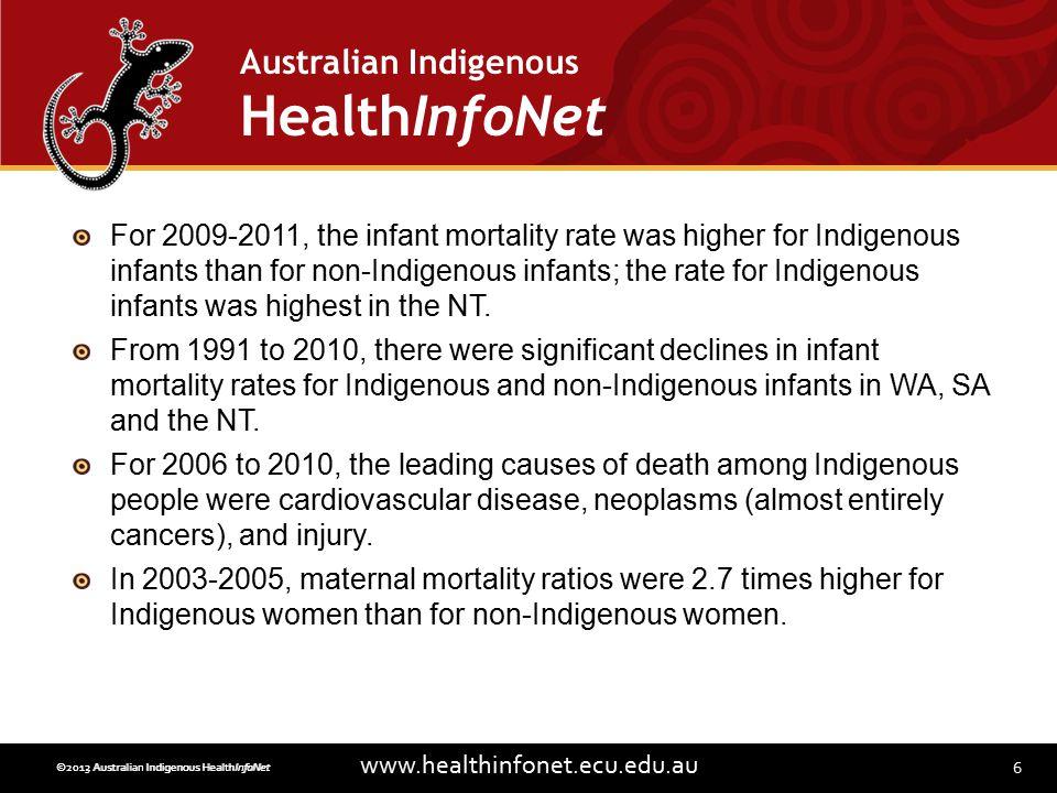 6 www.healthinfonet.ecu.edu.au Australian Indigenous HealthInfoNet ©2013 Australian Indigenous HealthInfoNet©2012 Australian Indigenous HealthInfoNet For 2009-2011, the infant mortality rate was higher for Indigenous infants than for non-Indigenous infants; the rate for Indigenous infants was highest in the NT.