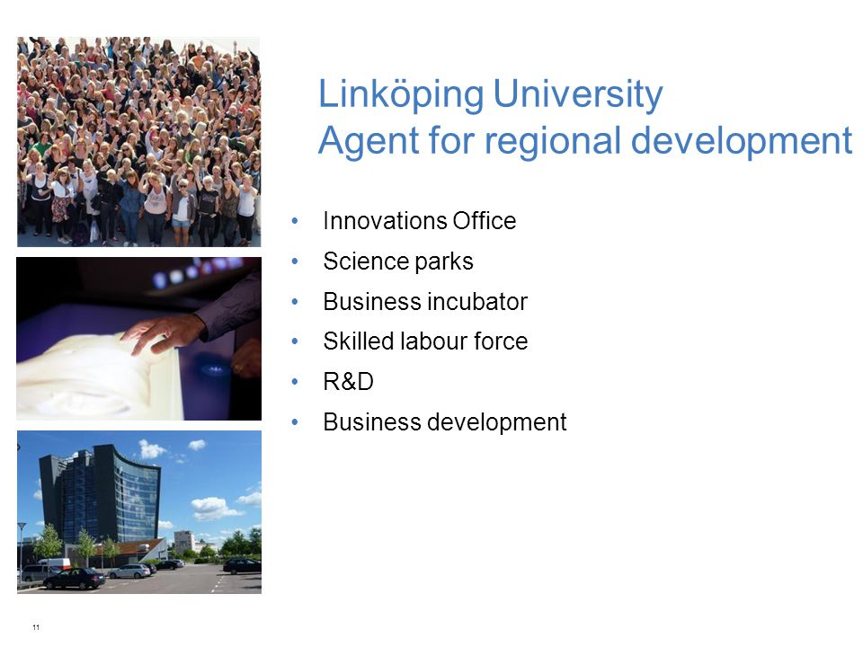 Linköping University Agent for regional development Innovations Office Science parks Business incubator Skilled labour force R&D Business development 11