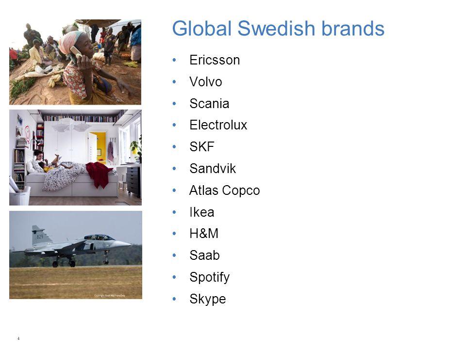 Global Swedish brands Ericsson Volvo Scania Electrolux SKF Sandvik Atlas Copco Ikea H&M Saab Spotify Skype 4