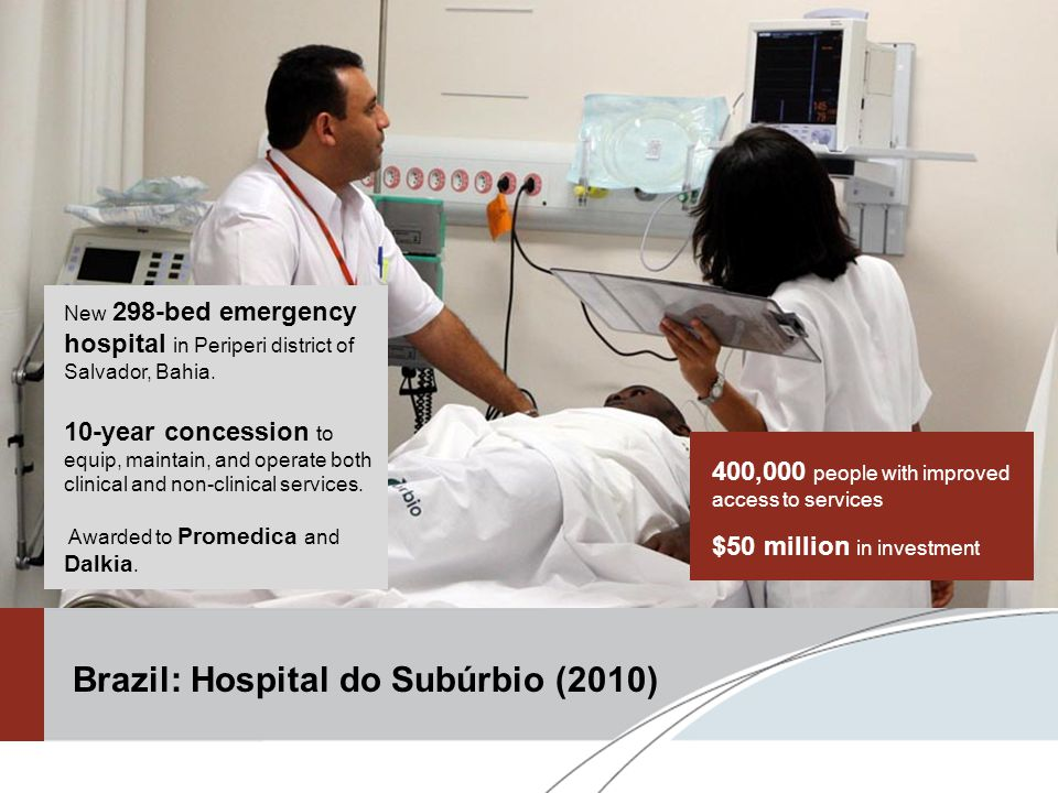 400,000 people with improved access to services $50 million in investment New 298-bed emergency hospital in Periperi district of Salvador, Bahia.