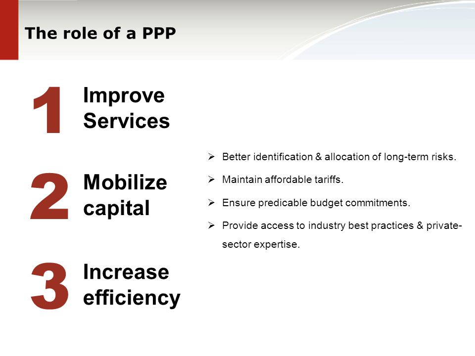 The role of a PPP 1 2 Improve Services Mobilize capital 3 Increase efficiency  Better identification & allocation of long-term risks.