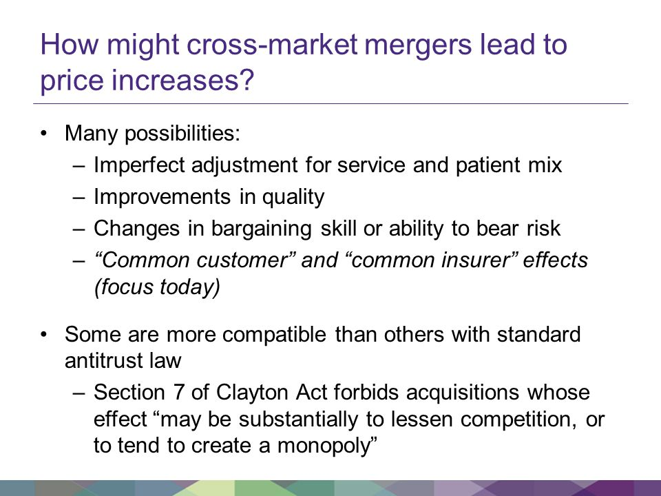 How might cross-market mergers lead to price increases.