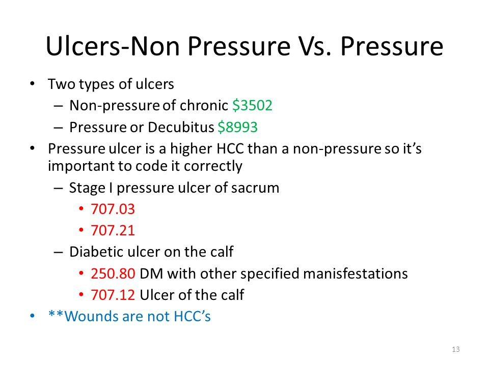 Ulcers-Non Pressure Vs. Pressure Two types of ulcers – Non-pressure of chronic $3502 – Pressure or Decubitus $8993 Pressure ulcer is a higher HCC than