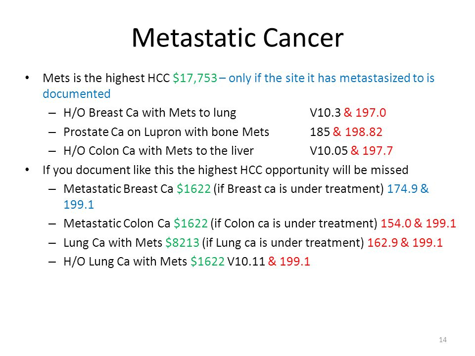 Metastatic Cancer Mets is the highest HCC $17,753 – only if the site it has metastasized to is documented – H/O Breast Ca with Mets to lungV10.3 & 197