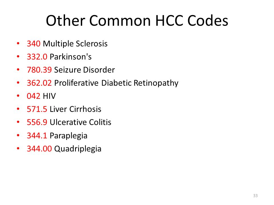 Other Common HCC Codes 340 Multiple Sclerosis 332.0 Parkinson's 780.39 Seizure Disorder 362.02 Proliferative Diabetic Retinopathy 042 HIV 571.5 Liver
