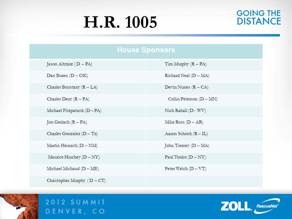 H.R. 1005 House Sponsors Jason Altmire ( D – PA) Tim Murphy (R – PA) Dan Boren (D – OK) Richard Neal (D – MA) Charles Boustany (R – LA) Devin Nunes (R