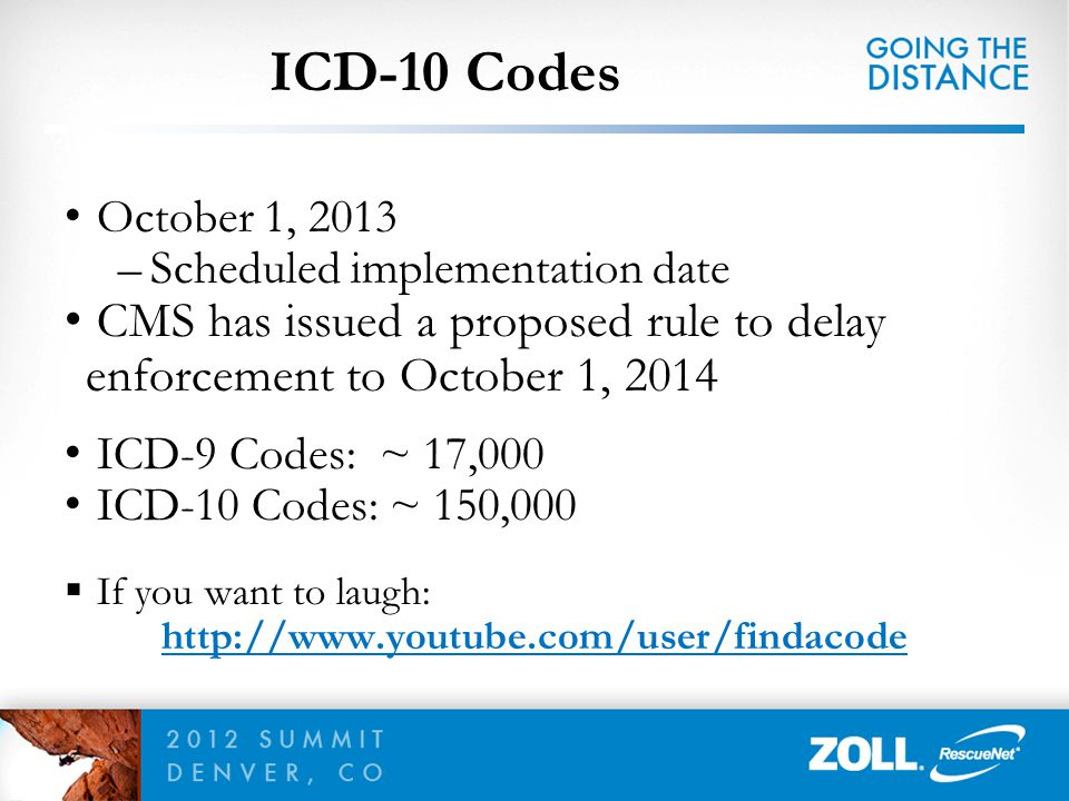 ICD-10 Codes October 1, 2013 –Scheduled implementation date CMS has issued a proposed rule to delay enforcement to October 1, 2014 ICD-9 Codes: ~ 17,0