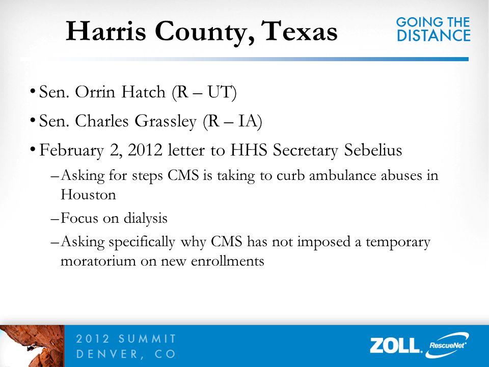 Sen. Orrin Hatch (R – UT) Sen. Charles Grassley (R – IA) February 2, 2012 letter to HHS Secretary Sebelius –Asking for steps CMS is taking to curb amb