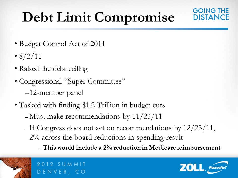 Joint Select Committee on Deficit Reduction – Super Committee – Tasked with finding $1.2 trillion in savings over 10 years – Fails to reach agreement – 2% sequestration of Medicare payments – Starting January 1, 2013 Issue unlikely to be resolved prior to Presidential election Sequestration
