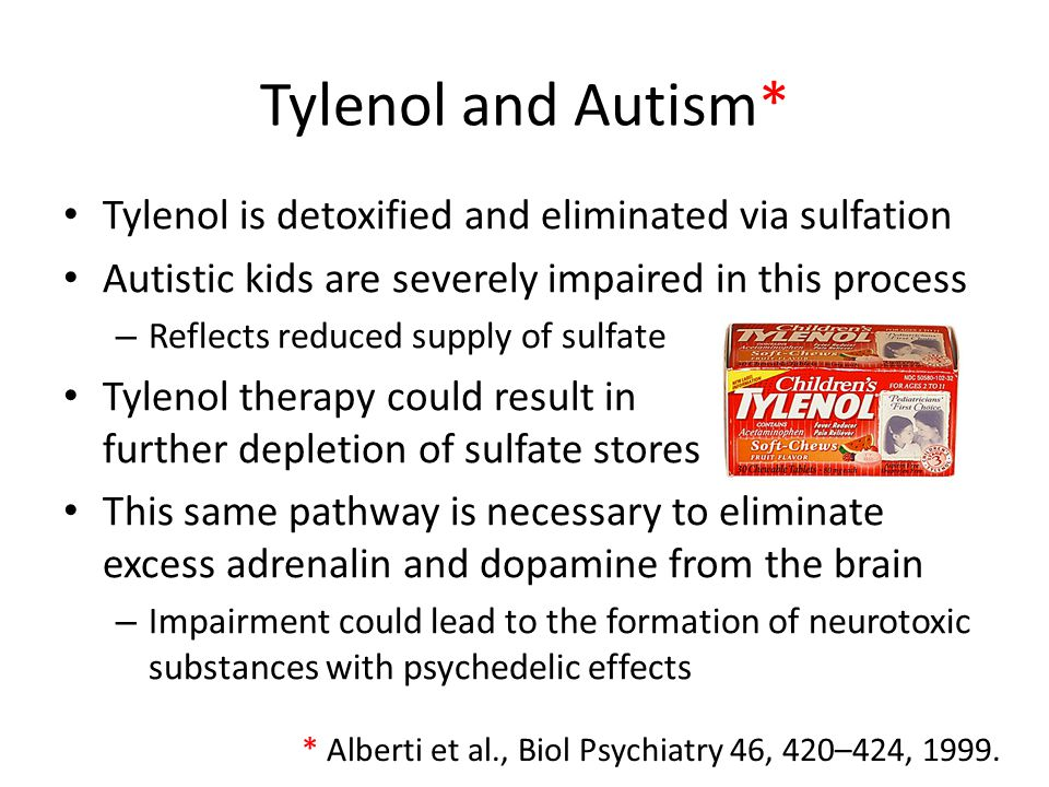 Tylenol and Autism* Tylenol is detoxified and eliminated via sulfation Autistic kids are severely impaired in this process – Reflects reduced supply o
